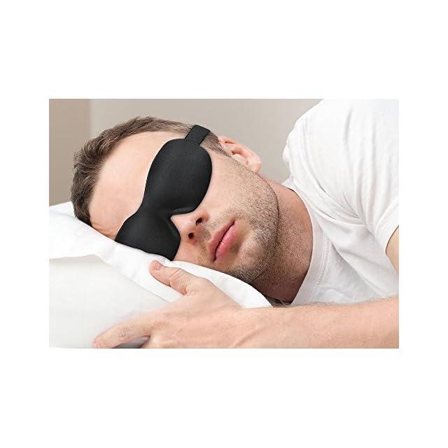 PLEMO Masque des Yeux/Masque de voyage Ultra-Doux anti-lumière, anti fatigue,3D (ne colle pas aux paupières, pour dormir/repos)