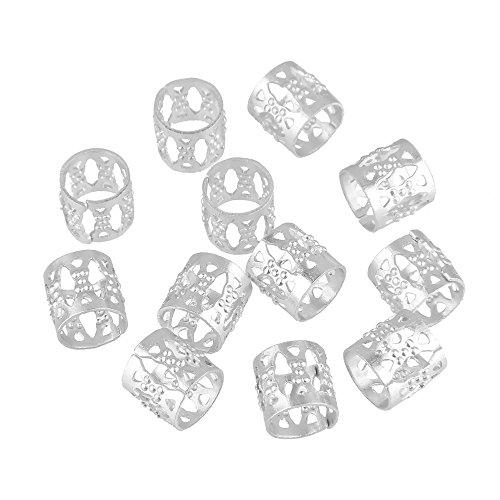 Beauty7 - 12 PCS versilbert Microring Perlen Zöpfe Flechten Haarschmuck Haar Braid Dread Dreadlock-Perlen verstellbar Cuff Clip 8mm Clip Metall Tube Lock Farbe: Silber