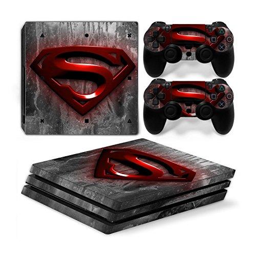 Funky Planet Playstation 4Pro PS4Pro Skin Aufkleber PVC für Konsole & Pads, Pratzen, Anpassung Ihr PS4Pro PS4 Pro Red Superman (Ps4 Controller Light Bar Superman)