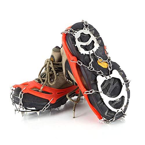 OUTEC Steigeisen 12 Zähne Traction Cleats, Ice Snow Grips Anti-Rutsch-Spikes aus Edelstahl für den Winter zu Fuß Wandern Klettern Joggen -