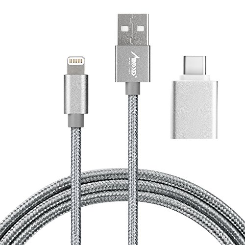 MAD GIGA Madgiga Lightning Kabel und Typ-C Adapter, iPhone Ladekabel mit Apple MFi-Zertifikat und USB Type C Adapter