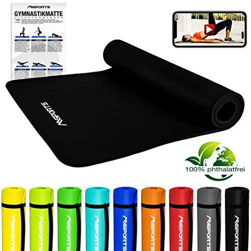 MSPORTS Gymnastikmatte Premium inkl. Tragegurt + Übungsposter + Workout App GRATIS I Fitnessmatte Schwarz - 190 x 100 x 1,5 cm Hautfreundliche Phthalatfreie Yogamatte