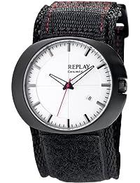 Replay RX7203AH - Reloj con correa de tela para hombre, color blanco / gris