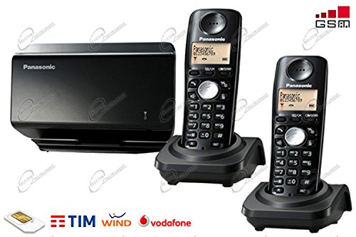 Telefono gsm cordless composto da due handset e una base, sbloccato per scheda sim di tim vodafone wind, con display e menù in italiano