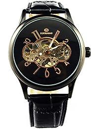 GuTe Vintage Unisex Negro Mecánico Reloj de pulsera hand-wind Esqueleto PU banda luminoso