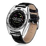 samLIKE 丨 TQ920 Smart Watch 丨 Herzfrequenz-Blutdruck-Schlafmonitor 丨 Schrittzähler 丨 Remote-Kamera 丨 SIM-Kartensteckplatz 丨 IP67 Wasserdicht 丨 Bluetooth Lederarmband 丨 Mehrsprachig 丨【 Die coolste Smartwatch dieses Jahr ❀】 (⭐️ Silber)