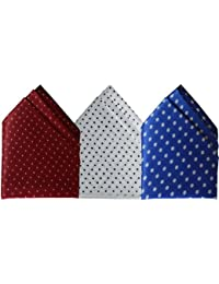 Sunshopping men's multi coloured polka dotted pocket Square pack of three(combo)