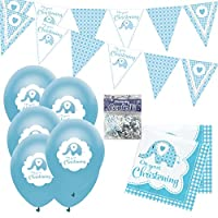 Christening Decorations Boy Kit: Christening Bunting, Balloons, Napkins and Confetti, Blue Elephant Theme