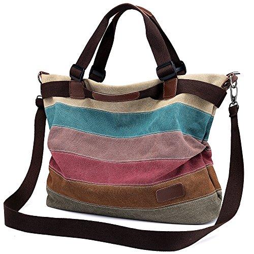 Damen Handtasche Canvas, Mädchen Lässige Umhängetasche Schultertasche  Leinwand Hobo Shopper BagTasche Henkeltasche Mehrfarbig, Große Größe 44x34x13CM - Mlc Tasche