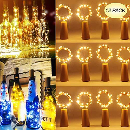 Brisun LED Flaschenlicht, 12 Stück 25 LEDs 2.5M Lichterketten für Flaschen mit Kork Batteriebetriebene Weinleuchten für DIY-Schlafzimmer Partys Hochzeiten Innen Weihnachten