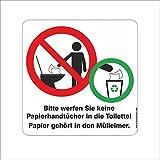 Aufkleber,Papierhandtücher Nicht in die Toilette Werfen, Hinweisschild, 11 x 11 cm