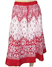 LOVARZI Ladies Cotton Skirt For Summer - Beautiful Womens Printed Long Summer Skirts - Free Size