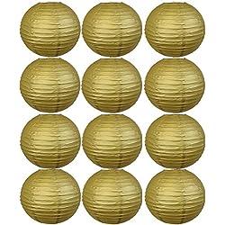 Farolillos para boda color dorado. Distintos tamaños. 12 unidades.