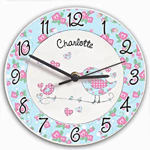 Floral Birds Clock. Dies ist ein tolles Produkt, die nach Ihren Bedürfnissen personalisiert (Bitte details main discription für Geschenke und Präsente), Ideal für Hochzeiten, Taufen, Geburtstagen, Weihnachten etc...