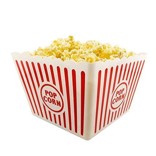 """Novelty Place [Neuheit Ort] Kunststoff rot & weiß gestreiften klassischen Popcornbehälter für Movie Night - 8\""""Quadrat x 7\"""" tief (1 Packung)"""