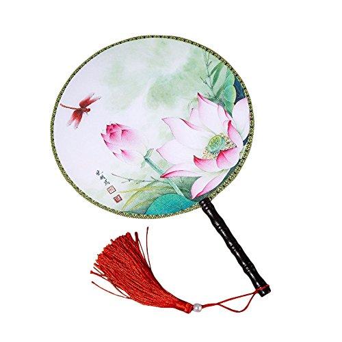 Frauen Kostüm Tanzabend - Da.Wa 1 Stück Chinesische Klassischer Frauen Handfächer Rosa Lotus und Libelle Muster Hand Fan mit Quaste für Hochzeit Dekoration Tanzabend Party Kostüm Maske Karnevals