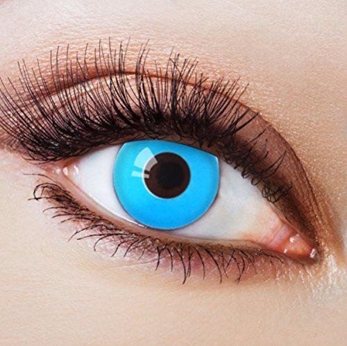 Farbige Kontaktlinsen Blau Ohne Stärke Blaue Jahreslinsen Weiche Motiv-Linsen Farbig Halloween Karneval Fasching Cosplay Kostüm hellblau Ice Blue ohne (Verrückter Kostüm Lunatic)