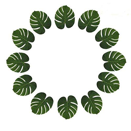 Hacoly 12er Tropische Palm Blätter gefälschte künstlich Palmblatt Strand Thema Party Hochzeit Tisch Dekorationen Tischdekoration Hawaiianische Monstera Palmenblätter - 40*30CM (Tisch Strand-hochzeits Dekorationen)