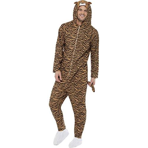 Amakando Tigerkostüm Jumpsuit Tierkostüm Raubkatze Overall L 44/46 Ganzkörper Katzenkostüm Tiger Kostüm Karneval Kostüme Damen Tier Faschingskostüm Zoo Katze Damenkostüm ()