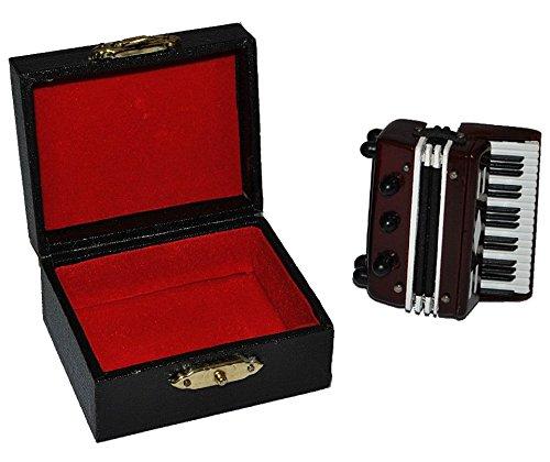 Akkordeon mit Kasten - Holz Miniatur Maßstab 1:12 - Schifferklavier Zerrwanst Puppenhaus - Musikinstrument Musik Instrument Tasteninstrument