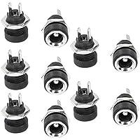 sourcingmap® 10pcs Conector de montaje en panel hembra 5,5 mm x 2,1 mm Enchufe Jack de alimentación DC