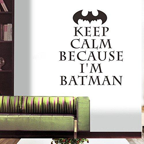 """ufengke® """"KEEP CALM"""" Batman Stickers Muraux de Citations et Proverbes, Salon Salle de Séjour Chambre à Coucher Décalcomanies Murales Autocollants Amovibles"""