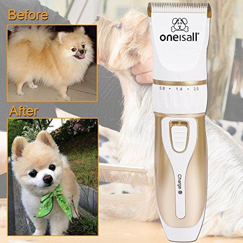 Oneisall Profi Schermaschine mit Zubehör Wiederaufladbare Tierhaarschneider Haustiere Elektrische Haarschneidemaschine für Hunde, Katze - 5