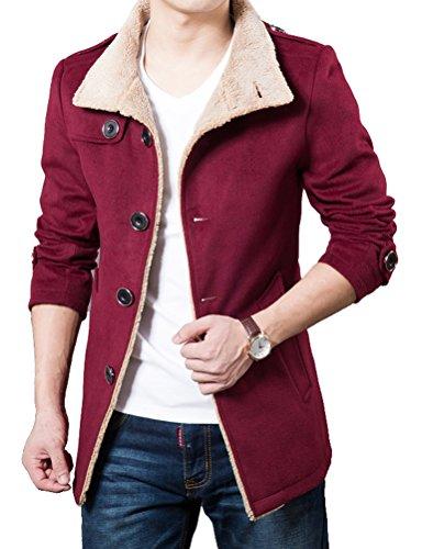 Brinny Hommes Trench Loisir Blouson Veste d'hiver chaud Slim Fit Manteau Rouge