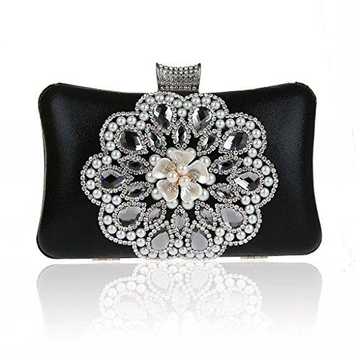 Borsa da donna frizione nuovo modo del vestito da sera di banchetto del sacchetto di diamante fiore in rilievo vestito HASP ( Colore : Silver ) Nero