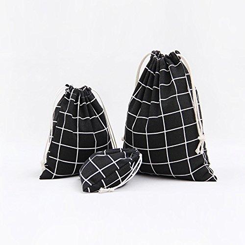 3 pcs/Pack Kleidertaschen IHRKleid® Leinen Gitter Beutel Strahltasche Kordelzug (Weiß) Schwarz