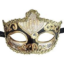 Mascarada Máscara Romano Griego Corona Musical Veneciano Mascarada Ball Máscara Fiesta Máscara (Negro)
