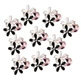 #1: Segolike 10 Pieces Alloy Rhinestone Crystal Flower Buttons Embellishment Jewelry Making Findings for DIY Crafts 24mm - white and black, 2.2x2.4cm