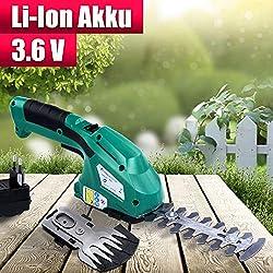 Akku Gras- und Strauchscheren Elektrisch Set | mit 3,6V Akku (50 min Laufzeit) und Ladegerät | Rasenschere, Grasschere, Heckenschere