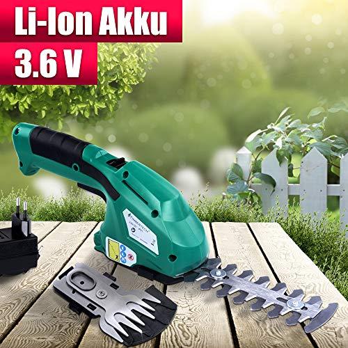 Akku Gras- und Strauchscheren Elektrisch Set - mit 3,6V Akku (50 min Laufzeit) und Ladegerät - Rasenschere, Grasschere, Heckenschere