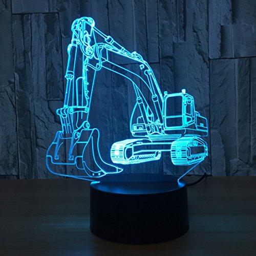 3D-Bagger-Nachtlicht Illusion LED Tischleuchte 7 Farben USB Neuheit Auto Form Schreibtisch Bedside Nightlight Lampen zum Kinder Spielzeug Geschenk