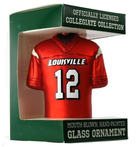 12 Football Ncaa (NCAA Louisville Cardinals #12 Red Glass Football Jersey Ornament by Old World Christmas)