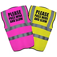 PLEASE PASS WIDE AND SLOW - Hi Vis Hi Viz High Visibility Reflective Safety Vest/Waistcoat | Yellow/Pink