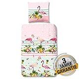 Aminata kids - Tropische Bettwäsche-Set Flamingo-Motiv rosa, Pastell 135-x-200 cm Mädchen, Single & Jugendliche - Baumwolle mit Reißverschluss, Rose, Mint-grün - Blumen-Motiv, Tropical, tropisch