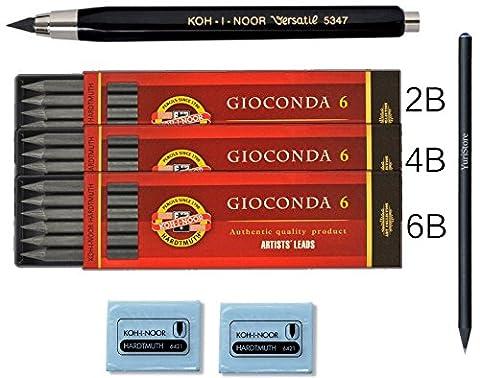 Koh-I-Noor Bundle Set de Noir 5.6mm diamètre Embrayage mécanique crayon plomb Support 5347+ 3x 6mines 5,6mm Graphite Gioconda. 4865/2B, 4B, 6B + 2gommes en caoutchouc naturel (Latex) + Cadeau yuristore pencill Noir avec Bijou