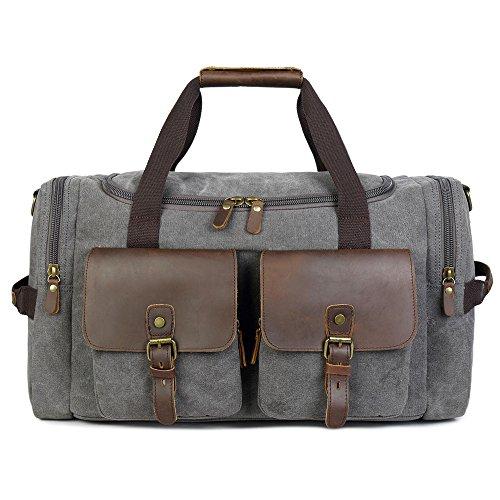 BLUBOON BLUBOON Canvas Reisetasche Vintage Weekender Damen Herren Segeltuch Handgepäck (Grau)