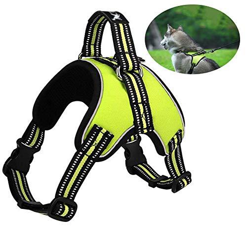 SAOFENG Hundegeschirr Grosse Hunde Anti Zug Outdoor Adventure Reflektierende Haustier Nachthemd Mit Griff Einstellbare Protective Nylon Gehen (Size : S)