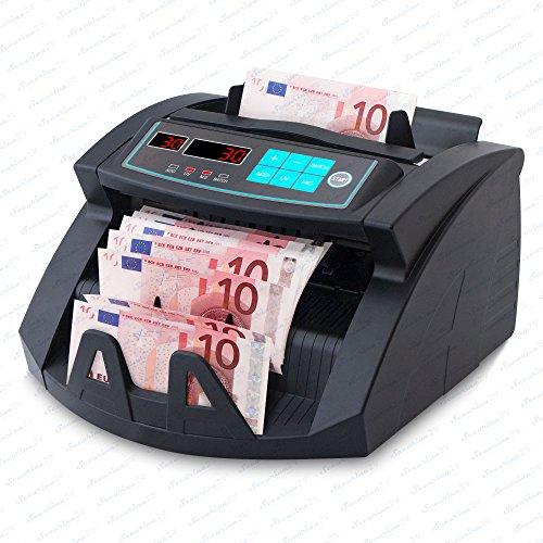 Geldzählmaschine Geldzähler Geldscheinzähler SR-3750 LCD UV/MG/IR von Securina24® (Schwarz - LED)