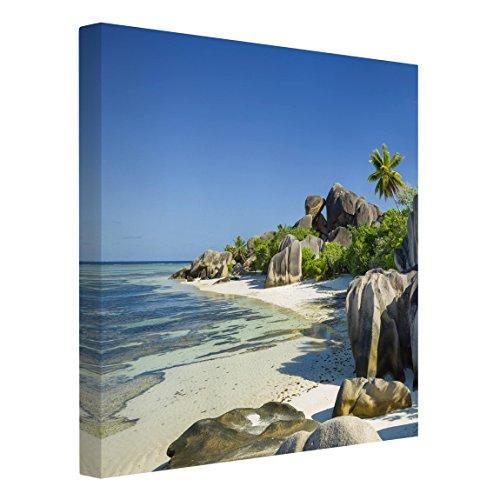 Bilderwelten Leinwandbild - Traumstrand Seychellen - Quadrat 1:1, 100cm x 100cm