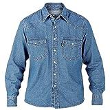 Duke KS1023 Jeans Western-Hemd blau in Übergrößen: Farbe: stone | Kragenweite: 49/50-3XL