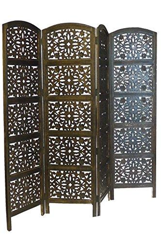 topfurnishing 4Panel Heavy Duty indischen Screen Holz Blume Design Raumteiler, Holz, Dunkelbraun, 180x 60x 20cm