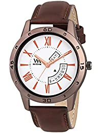Watch Me Day Date Collection White Dial Brown Leather Strap Watch For Men And Boys DDWM-033 DDWM-033rto1