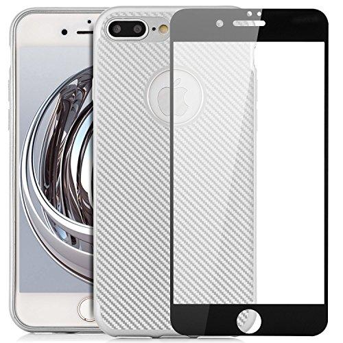 Custodia iPhone 8 Plus / 7 Plus Cover + Vetro Temperato 3D Silicone Piena Copertura [zanasta] Case Flessibile, Ultra Sottile Premio Flessibile e Durevole Structure Carbonio Design | Metallic Oro Argento