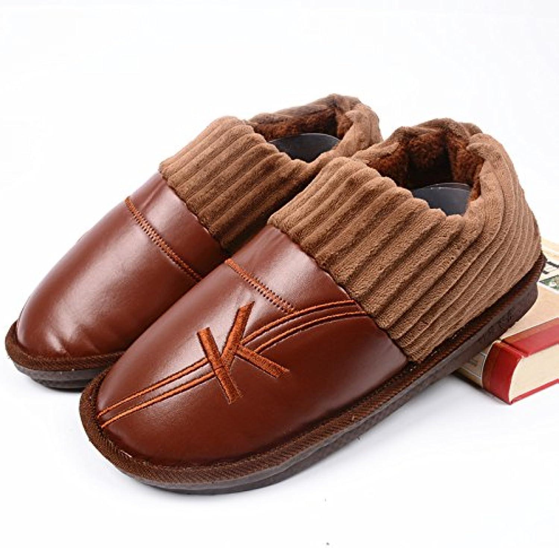 LaxBa  Invierno patinar en zapatillas piel falsa nieve forrada caliente Zapatos para hombres Bolso marrón con300... -