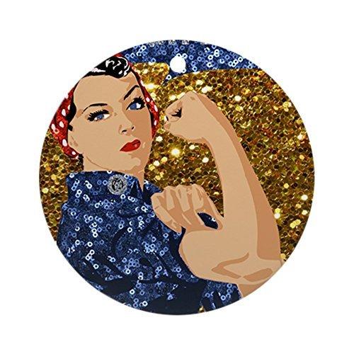 CafePress–Glitzer Rosie The Riveter–Rund Urlaub Weihnachten ()