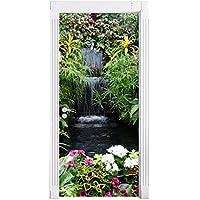 colorato Blumenoase come Murale, Formato: 200x90cm, telaio della porta, adesivi porta, porta decorazione, autoadesivi del (Fiore Fontana Parete)